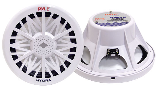 "Pyle PLMRW10 10"" 500W 4 Ohm Marine WaterProof ABS Subwoofer Sub Bass Speaker"