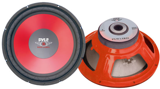 """Pyle PLW15RD 15"""" Red Cone High Performance Sub Woofer Car Audio"""