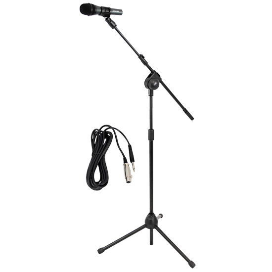 PYLE-PRO PMKSM20 Microphone and Tripod Stand With Extending Boom and Mic Cable Package