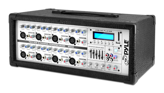 Pyle PMX802M 8 Channel 800w Powered Active Amplified DJ Mixer Amp MP3 USB