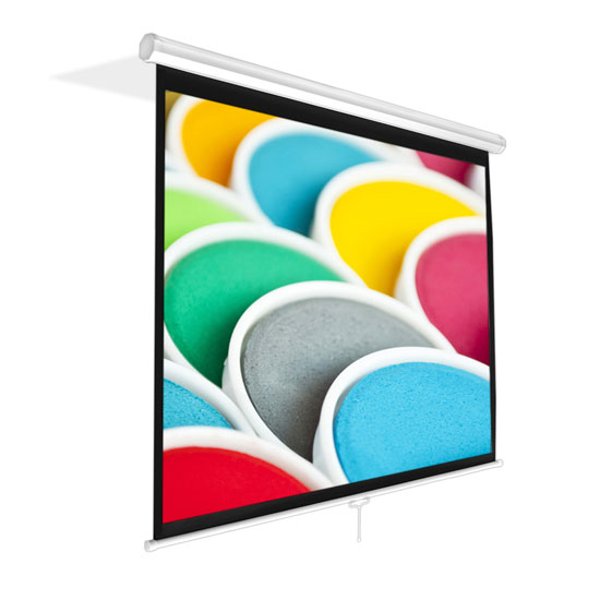 Pyle PRJSM1006 Universal 100Inch Roll-Down Pull-Down Manual Projection Screen