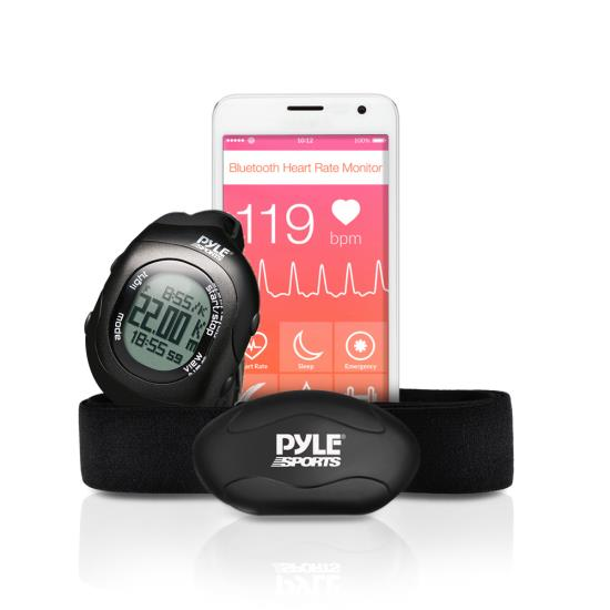 Pyle PSBTHR70BK Bluetooth Fitness Heart Rate Monitoring Watch iPhone Android