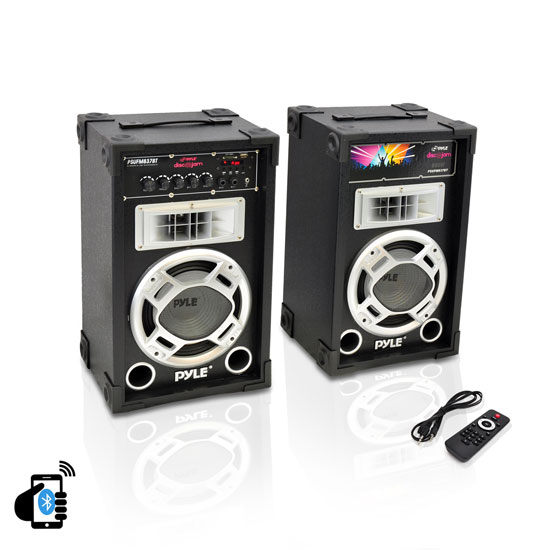 "Pyle PSUFM837BT Pair of 800W 8"" Bluetooth Speakers USB/AUX FM Flashing Light"