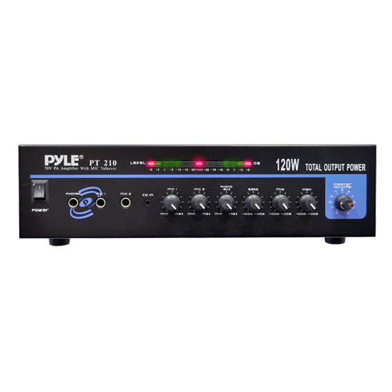 PyleHome PT210 120W Microphone PA Mono Amplifier with 70V Output and Mic