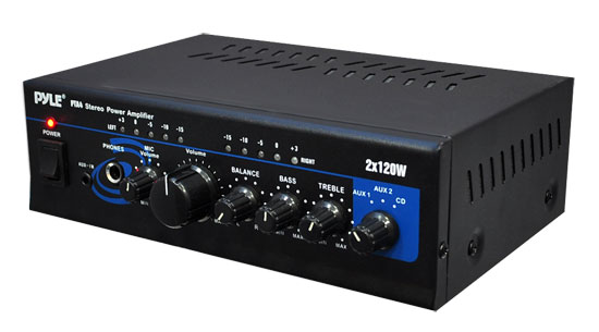 PyleHome PTA4 Mini 2x 120W Stereo Power Amplifier with AUX, CD and Mic Input