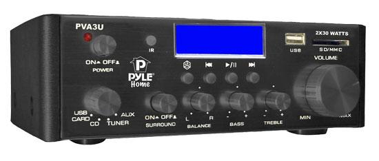 Pyle PVA3U 60W Stereo Hi-Fi Mini iPod Amplifier USB SD MP3 Player Receiver