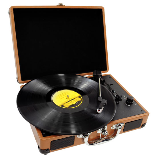 PVTT2UWD Rechargeable Retro Belt-Drive Turntable Built in Speakers & USB-to-PC
