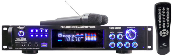 Pyle Pro Home DJ PWMA2003T 2000W Amplifier Tuner With Wireless Dual Microphones