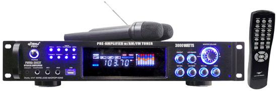 Pyle PWMA3003T Pyle 3000 Amp Tuner Wireless Microphone Hi-Fi Reciever