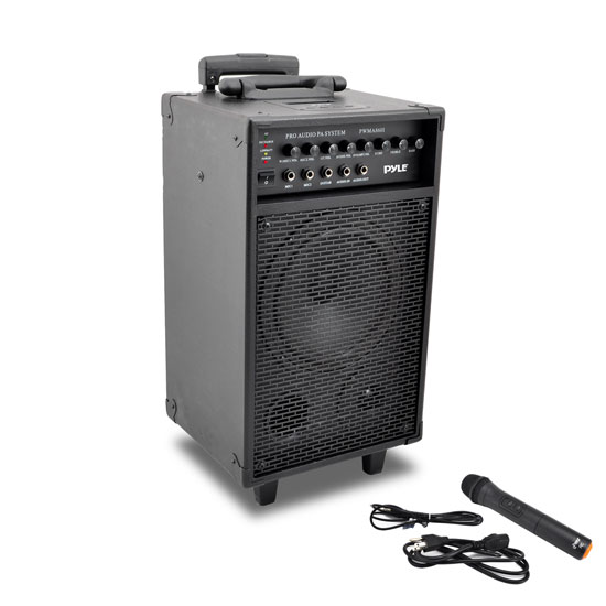 Pyle 500w Amplified Wireless Wired Microphone PA System Speaker & Ipod Dock