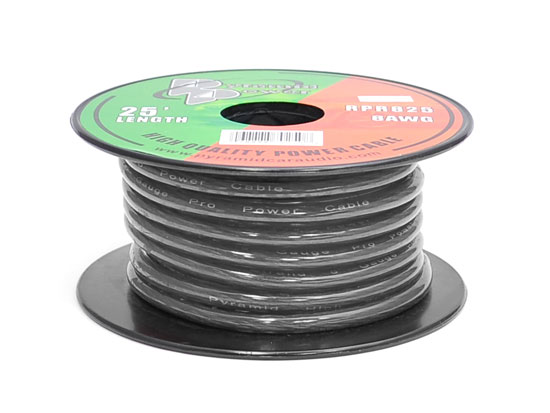 RPB825 12v 8 AWG Negative Ground Black Amp Wiring Ground Wire 25 ft. OFC Copper