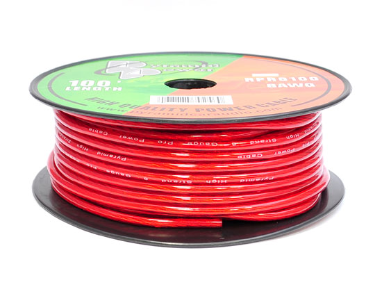 Pyramid RPR8100 8 Gauge Clear Red 12v Car Amplifier Power Wire 100 ft. OFC