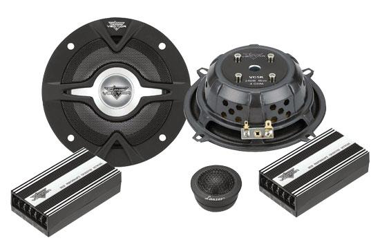 """Lanzar Vector 5.25"""" Slim Car Door Component Speakers Mid Woofers & Tweeters Kit"""