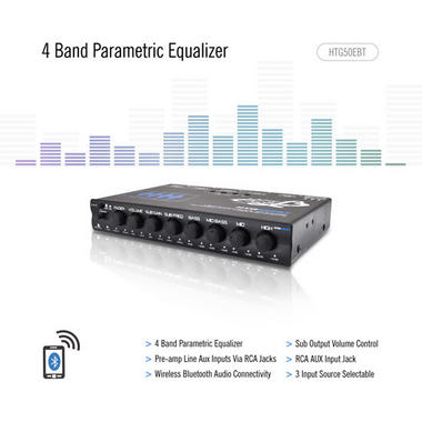 Lanzar HTG50EBT Heritage Series 4-Band EQ Parametric Equalizer with Subwoofer Gain Control and Bluetooth Wireless Audio Thumbnail 3