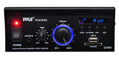 Pyle PCAU25A 2 x 40 Watt Stereo Power Amplifier USB/SD AUX Player & Remote Thumbnail 3