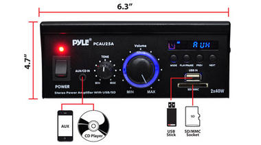 Pyle PCAU25A 2 x 40 Watt Stereo Power Amplifier USB/SD AUX Player & Remote Thumbnail 5