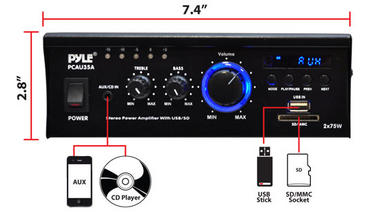 Pyle Home Audio PCAU35A 2 x 75 Watts Mini Power Amplifier USB/SD Card Input Thumbnail 5