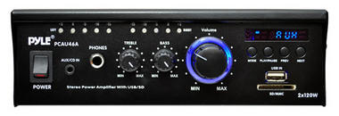 Pyle PCAU46A 2 x 120 Watt Stereo Mini Power Amplifier USB/SD AUX Player & Remote Thumbnail 3
