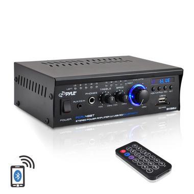 Pyle PCAU48BT 2 x 120W Bluetooth Stereo Power Amplifier USB/SD AUX & Remote Thumbnail 1