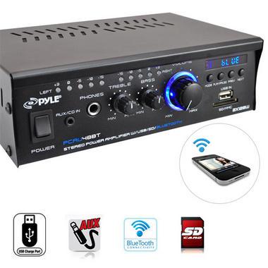 Pyle PCAU48BT 2 x 120W Bluetooth Stereo Power Amplifier USB/SD AUX & Remote Thumbnail 3