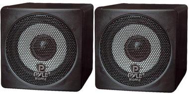 Pyle-Home PCB3BK 3'' 100 Watt Black Mini Cube Bookshelf Speakers In Black (Pair) Thumbnail 1