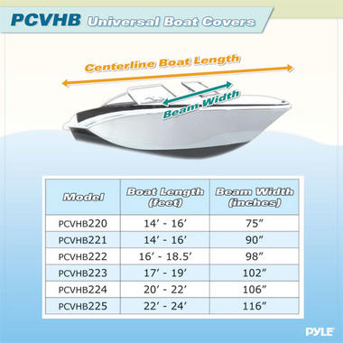 PYLE PCVHB222 BOAT COVER 16' - 18.5'L BEAM WIDTH TO 98 Thumbnail 3