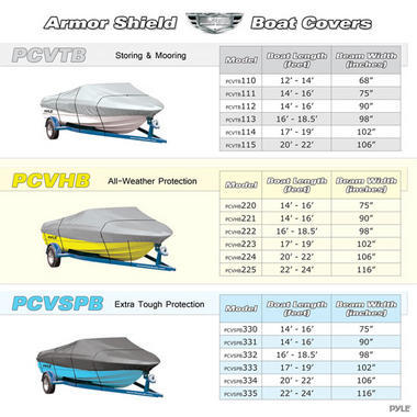 PYLE PCVHB222 BOAT COVER 16' - 18.5'L BEAM WIDTH TO 98 Thumbnail 4