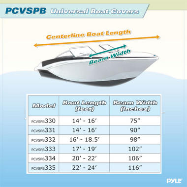 """PYLE PCVSPB331 BOAT COVER 14' - 16'LL BEAM WIDTH TO 90"""" Thumbnail 3"""