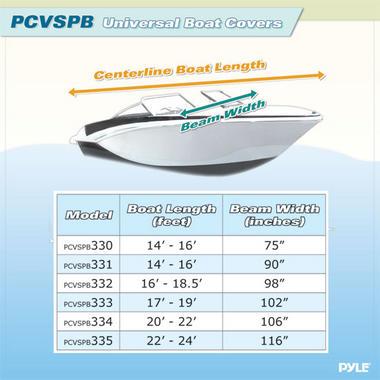 "PYLE PCVSPB335 BOAT COVER  22' -24'L BEAM WIDTH TO 116"" Thumbnail 3"