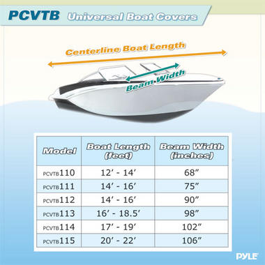 """PYLE PCVTB112 BOAT COVER 14' - 16'LL BEAM WIDTH TO 90"""" Thumbnail 3"""
