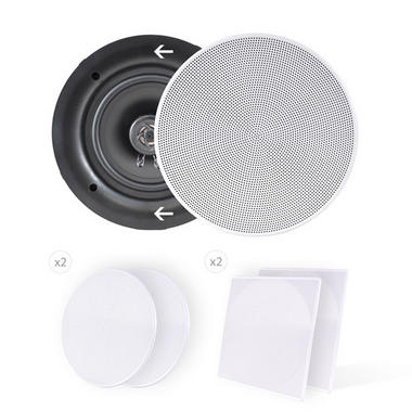 Pyle PDIC66 In-Wall/In-Ceiling 6.5-Inch Dual Stereo Speakers, 200 Watt, 2-Way, Flush Mount, White by Pyle Thumbnail 6