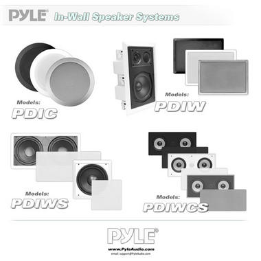 Pyle PDIW65 6.5'' Two-Way In-Wall Speaker System Pair White Ceiling Built-In Thumbnail 6