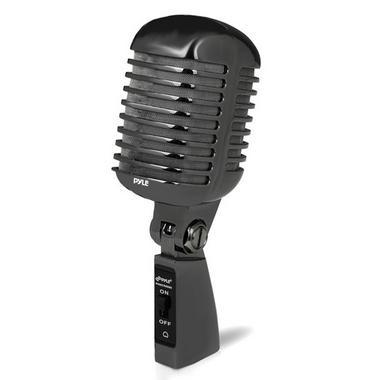 Pyle PDMICR42BK Classic Retro Vintage Style Dynamic Vocal Microphone with 16ft XLR Cable (Black) Thumbnail 1