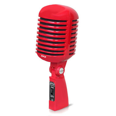 Pyle PDMICR42R Classic Retro Vintage Style Dynamic Vocal Microphone with 16ft XLR Cable (Red) Thumbnail 1