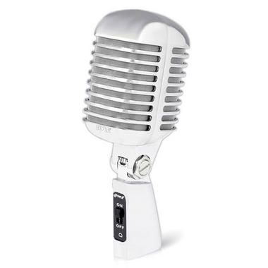 Pyle PDMICR42SL Classic Retro Vintage Style Dynamic Vocal Microphone with 16ft XLR Cable (Silver) Thumbnail 1
