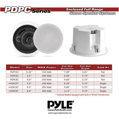 "Pyle-Home PDPC5T Pyle 5.25"" Transformer Ceiling Speaker Thumbnail 6"