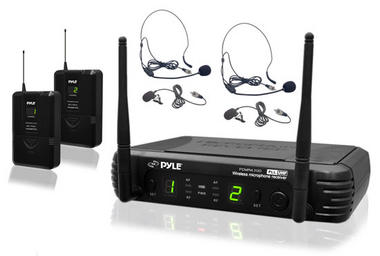 PylePro PDWM3400 Premier Series UHF Microphone System with 2 Body-Pack Transmitters, 2 Headsets and 2 Lavalier Mics Thumbnail 1