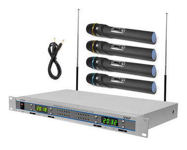 Pyle-Pro PDWM5500 Quad VHF 4 Wireless Microphone Mic System with Display Thumbnail 1