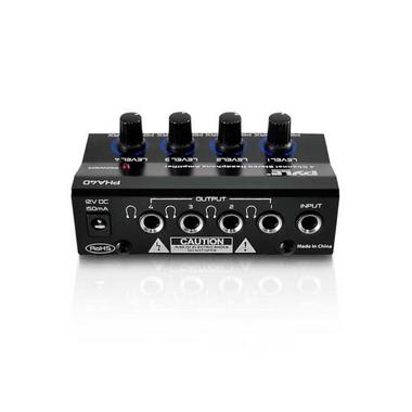 Pyle Pro Music DJ 4 Channel Compact Stereo Headphone Amplifier Distribution Amp Thumbnail 3
