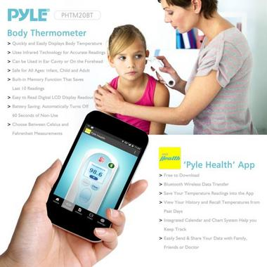 PHTM20BTGR Bluetooth Infrared Ear & Body Digital Thermometer Downloadable Pyle Thumbnail 5