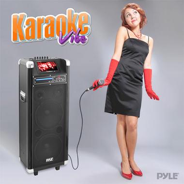"""PYLE-PRO PKRK210 10""""X2 PORTABLE PA SPEAKER W/DVD/7""""SCREEN Thumbnail 5"""