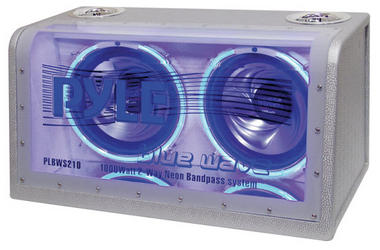 Pyle PLBWS212 Dual 12'' 1200 Watt Bandpass w/Neon Woofer Rings Enclosure System Thumbnail 1