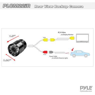 Pyle PLCM22IR Flush Surface Mount Universal Rear View Camera IR Night Vision Thumbnail 4
