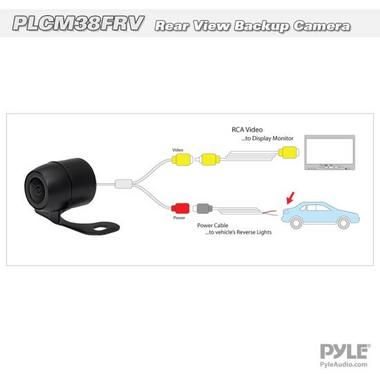 Pyle PLCM38FRV Vehicle From View & Rearview Backup Camera, Distance Scale Line Thumbnail 5