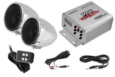 Motorbike / Scooter Bike Handlebar Speakers Radio And Amplifier System MP3 IPOD Thumbnail 1
