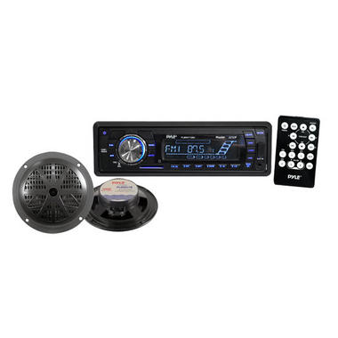 Pyle Marine Boat iPod Ready MP3 USB SD Card Stereo Pair Of Speakers & Remote Thumbnail 1