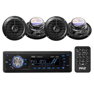 """Pyle PLMRKT14BK Marine Boat Stereo SD MP3 USB Stereo & 6.5"""" Speakers Set Kit Thumbnail 1"""