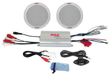 Pyle Marine Boat 2 Channel iPod Ready MP3 Amplifier Pair Of Speakers & Remote Thumbnail 1