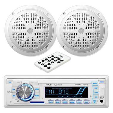 """Pyle PLMRKT32WT Marine Boat Stereo SD MP3 USB Stereo & 5.25"""" Speakers Set Kit Thumbnail 1"""