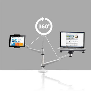 Pyle PLPPADMT20 Dual Laptop & Tablet Holder Stand Swivel, Tilt & Rotation Thumbnail 3